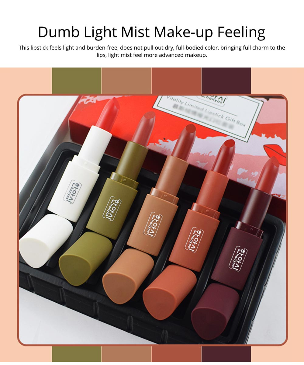 5Pcs Muscat Velvet Matte Lipstick Suit for Female Girl Lady Student Makeup Lipstick Suit With Exquisite Gift Box 1