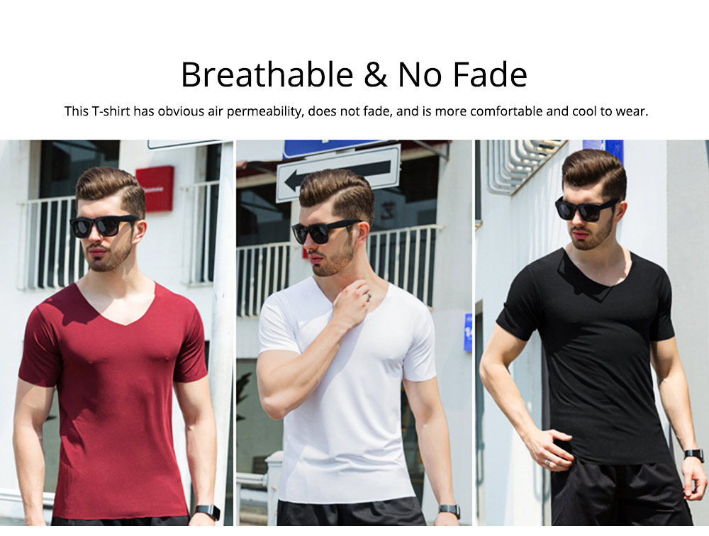 Summer Quick-drying Ice Silk T-shirt for Men, Men's Short Sleeve Leisure Self-cultivation V-neck Quick-dry Undercoat 1