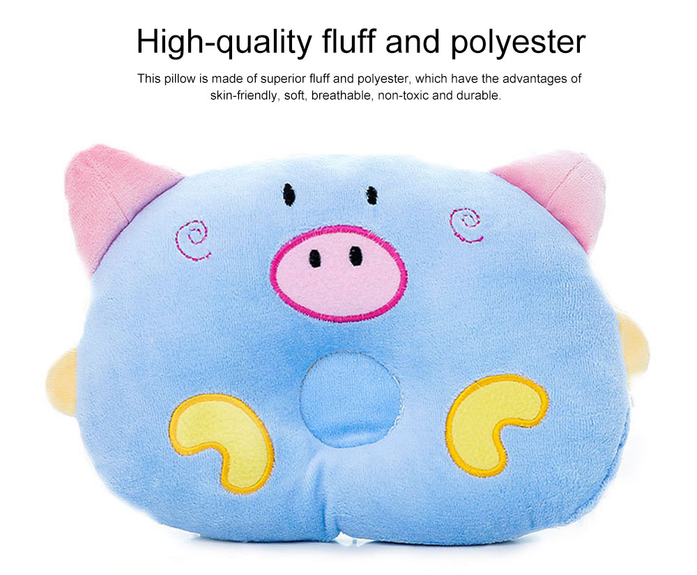 Cute Carton Pig Model Embroidery Anti-Roll Newborn Baby Pillow Soft Breathable Fluff Infant Prevent Flat Head Pillow 1