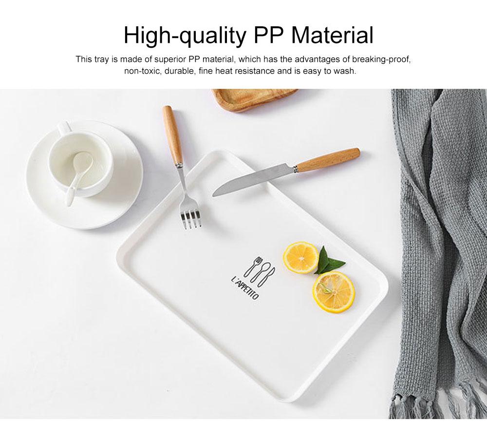 Minimalist Rectangle Household Breakfast Food Tray Breaking-proof PP Tea Bread Drink Decoration Tray 1