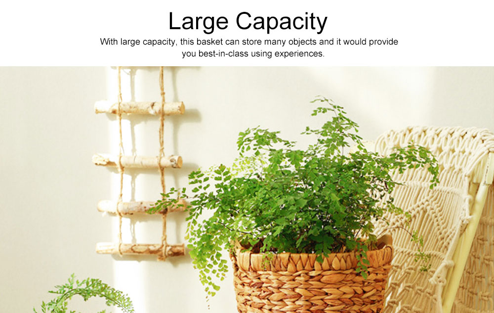 Creative Minimalist Garden Straw Weaving Flower Basket, Delicate Rattan Weaving Storing Basket Decoration with Double Handle 7