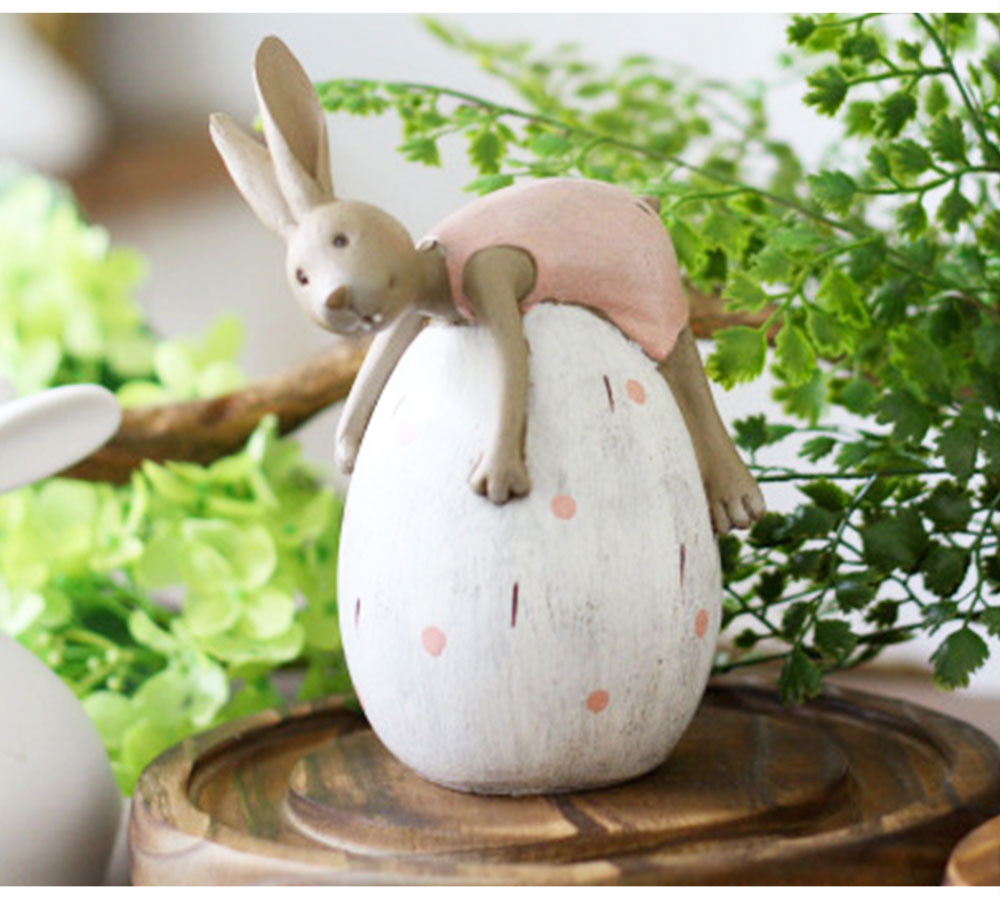 Cute Cartoon Rabbit Egg Carrot Model Resin Saving Pot Creative Bunny Easter's Day Table Ornament Decoration 6