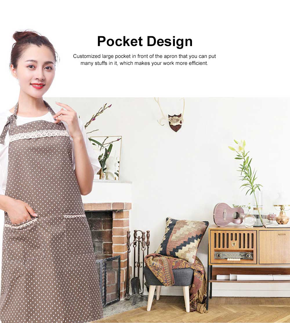 Fashionable Apron for Kitchen 100% Cooking Apron with Pocket Aprons with Strip Dot Printing Patterns Household Accessory 3