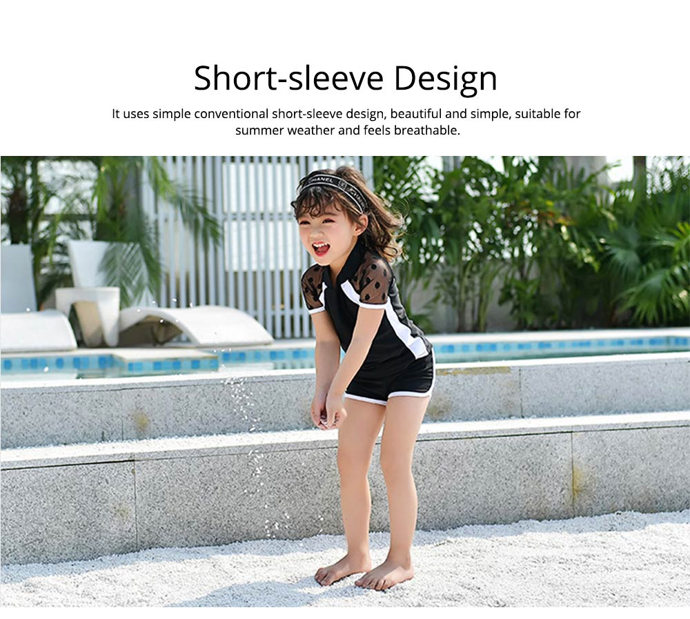 Two-piece Swimming Suit for Girls Wave Point Net Yarn Classic Color Separate Short-sleeve Swimwear 4