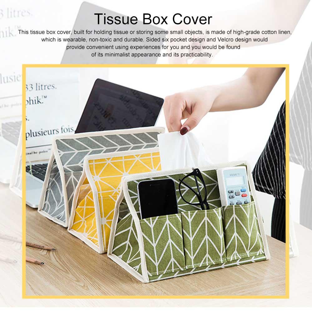 Minimalist Functional Geometric Pattern Tissue Box Cover, Waterproof Wearable Cotton Linen Facial Paper Organizer Holder 0