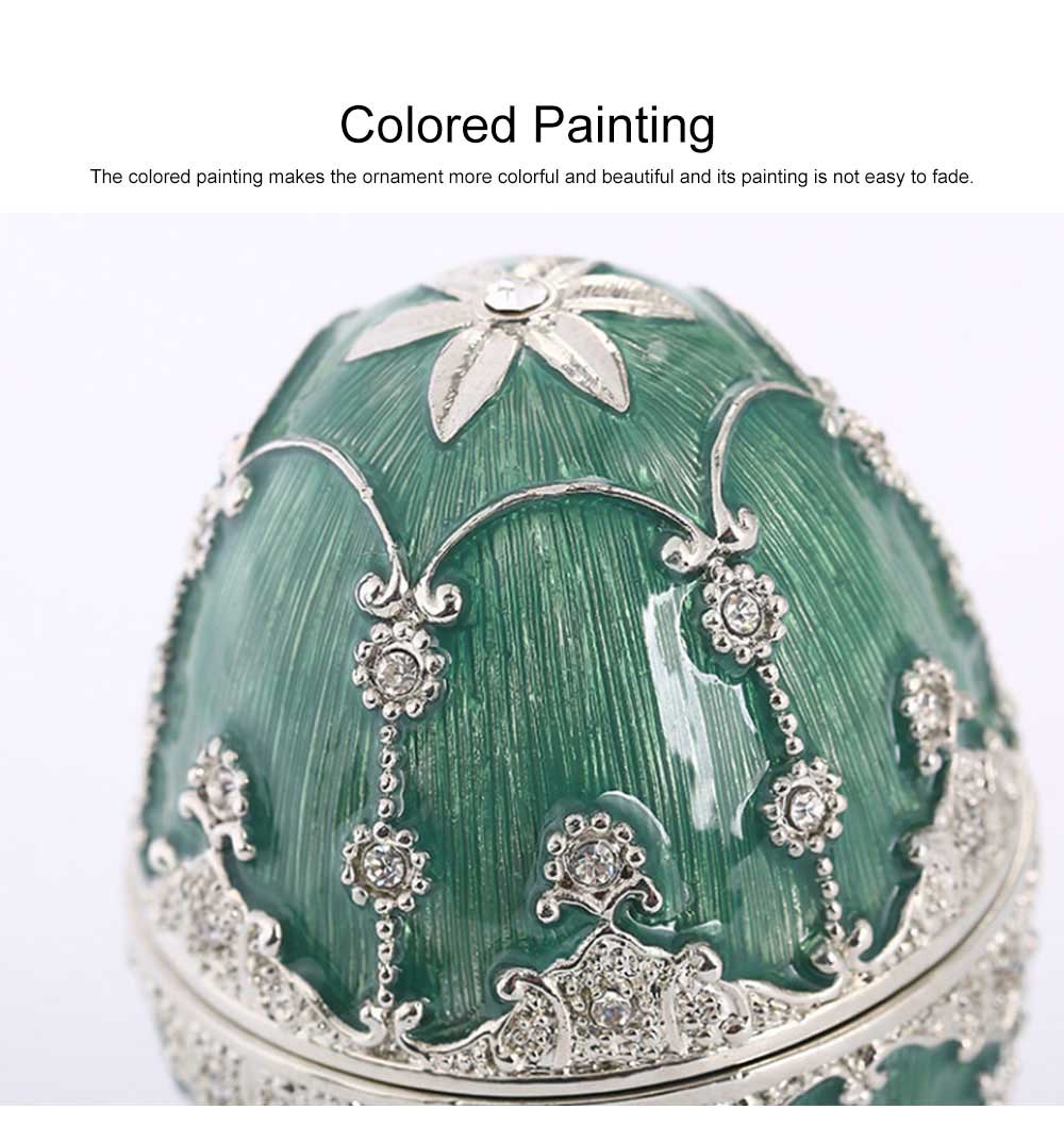 Delicate Green Blue Colored Painting Rhinestone Decorative Ornament Quality Easter Egg Decoration Model Jewelry Storing Box 2