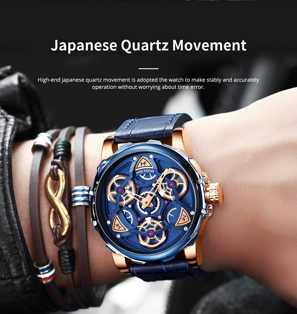 Men's Mechanical Watch Japanese Movement Business Quartz Watch with Gear Gyro Leather Watch Band 5