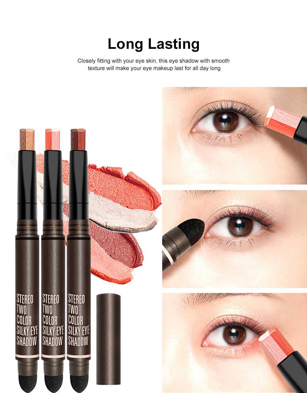 Portable Dual Color Eye shadow Stick Waterproof Long-Lasting Eye Makeup Stick Pearl Effect Cosmetic for Beginner 3