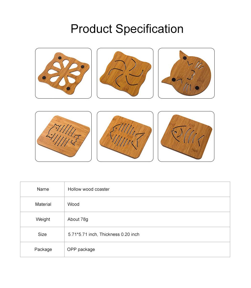 Delicate Creative Carton Hollow Wooden Coaster Thicken Anti-scalding Drink Tea Coffee Cup Mat Tableware 6