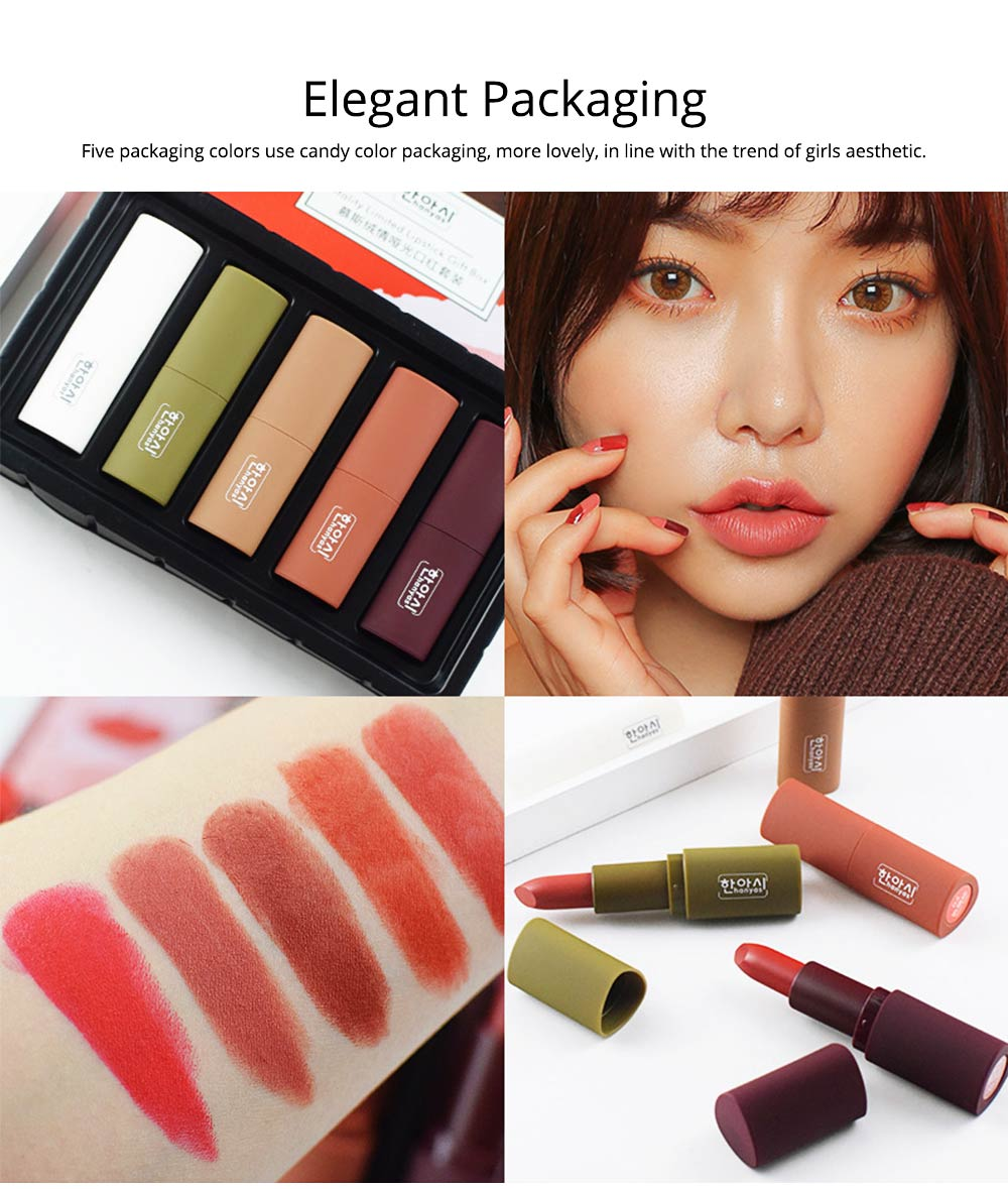 5Pcs Muscat Velvet Matte Lipstick Suit for Female Girl Lady Student Makeup Lipstick Suit With Exquisite Gift Box 4