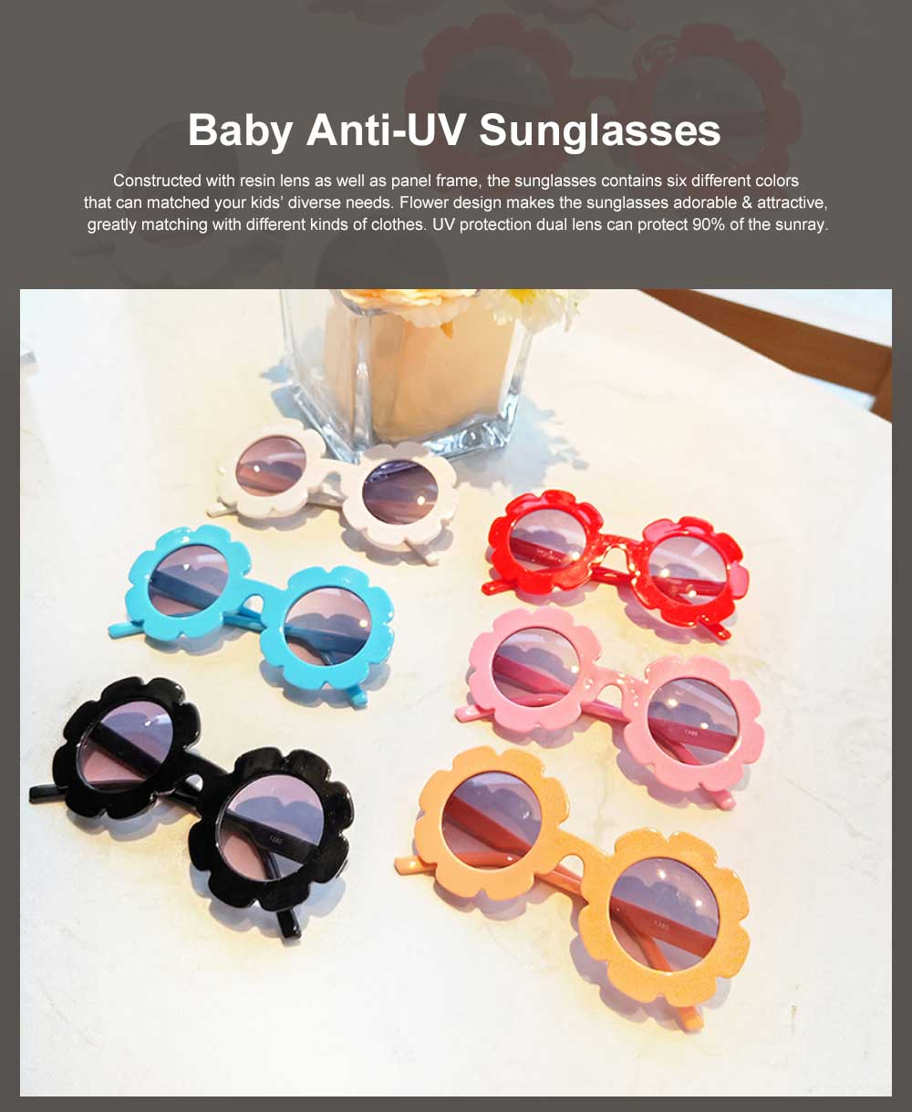 Baby Kids Vintage Flower Round Anti-UV Sunglasses Colorful Cute Eyewear for Party Photography Outdoor Beach 0