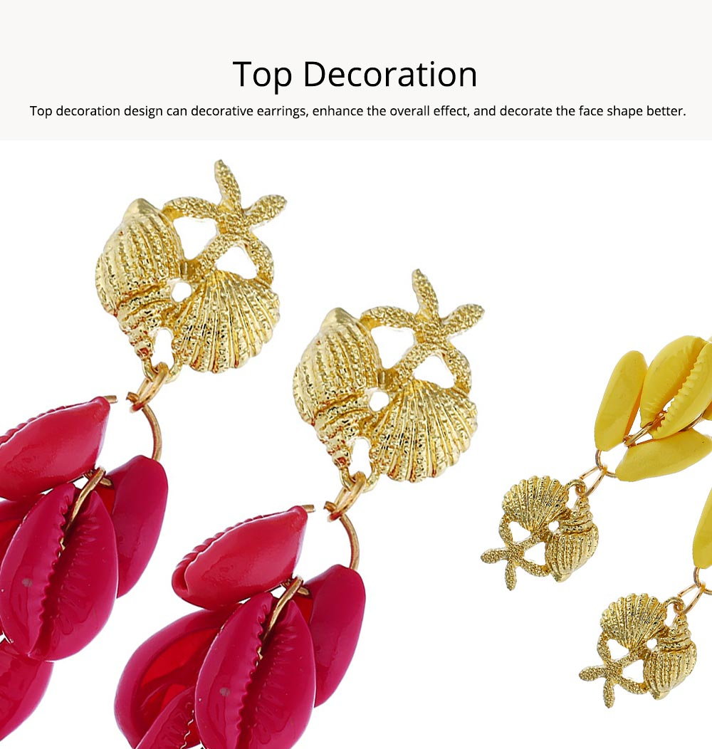 Cluster Shell Earrings for Women Marine Top Decoration Environment Friendly Color Shells Ear Stud, Western Style Pendant 3