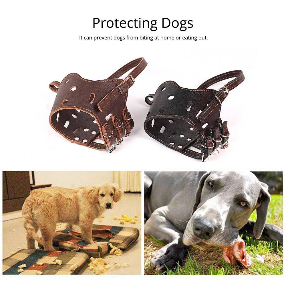 Adjustable Pet Dog Masks PU Leather Dog bark arrester Dog Stop Barking Bite-proof Cover 2