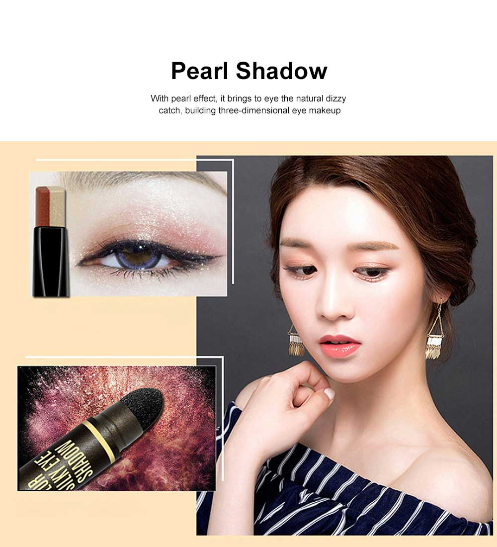 Portable Dual Color Eye shadow Stick Waterproof Long-Lasting Eye Makeup Stick Pearl Effect Cosmetic for Beginner 2