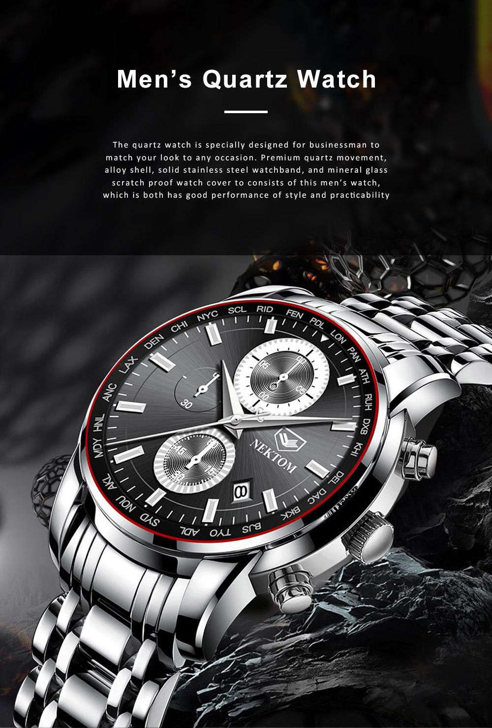 Men's Quartz Watch Multifunctional Waterproof Wrist Watch Scratch Proof Fashion Accessory Watch 0