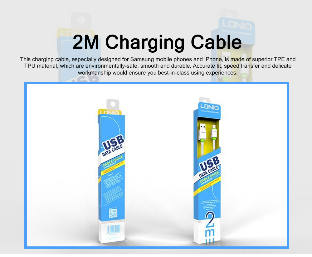 2M 2.1A USB Samsung Android iPhone PVC Rubber Fast Charging Line 0