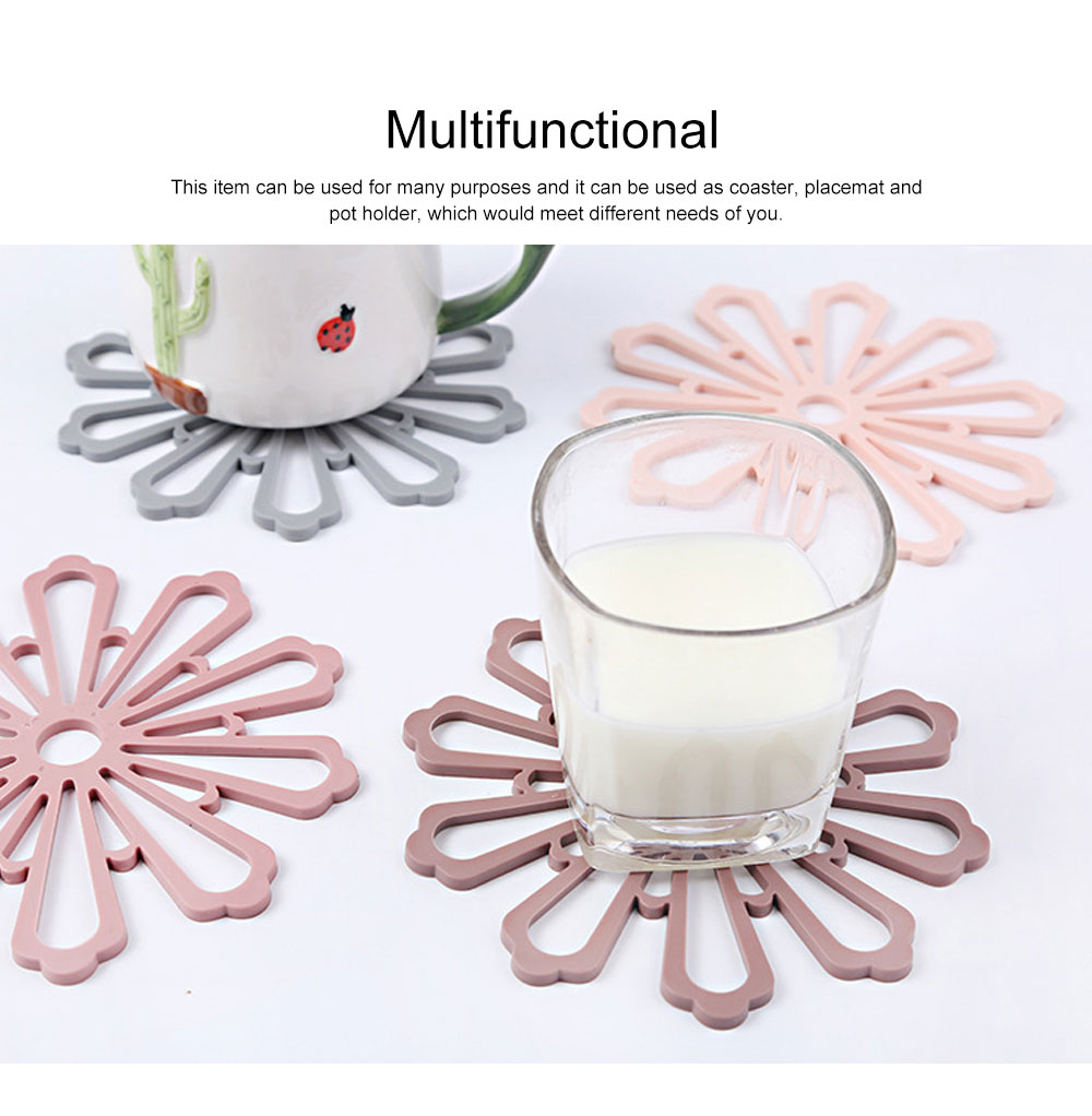 Creative Fancy Flower Model Thicken Anti-scalding Coaster, Soft Non-toxic PVC Placemat Teapot Pad Decoration 3