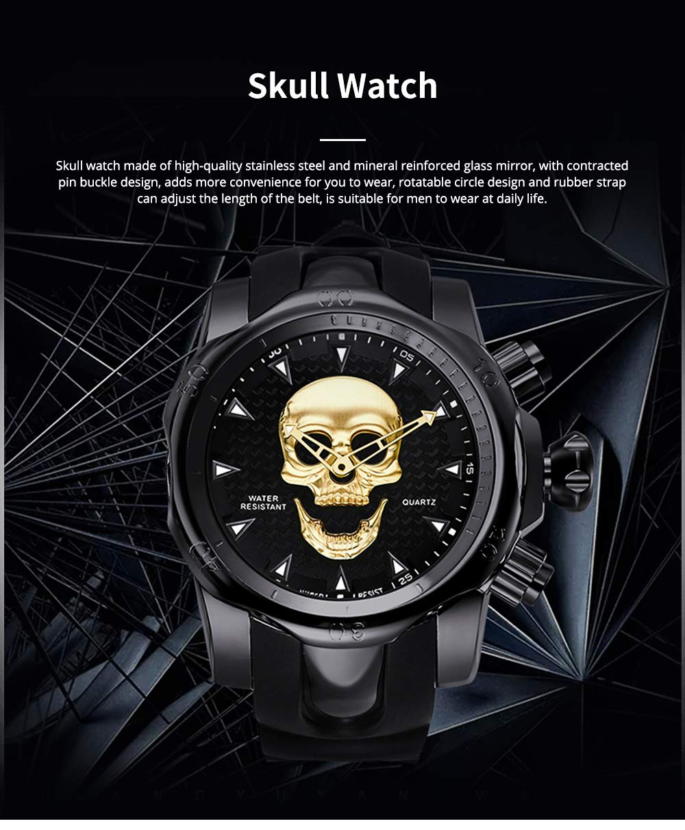 Skull Wrist Watch for Men Rotatable Circle Rubber Strap Contracted Pin Buckle Stainless Steel Sturdy and Durable Personality Watch 0