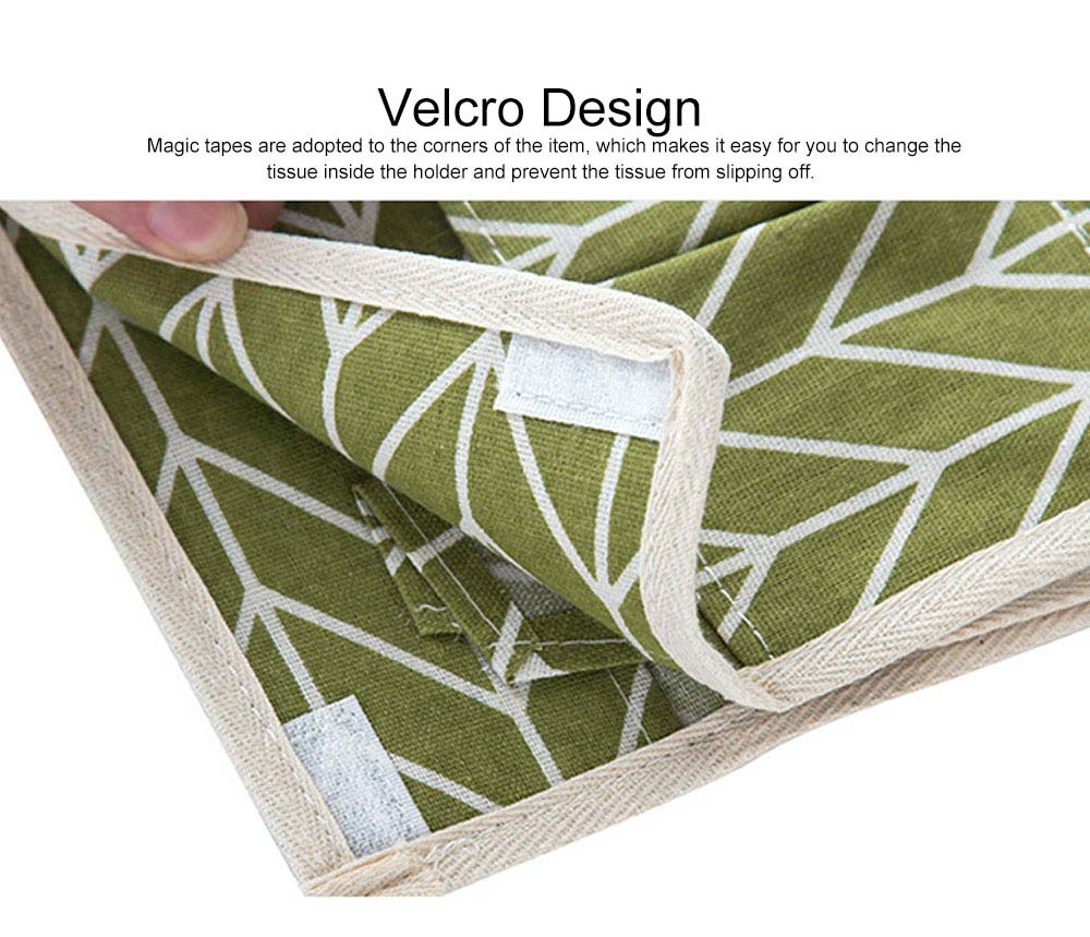 Minimalist Functional Geometric Pattern Tissue Box Cover, Waterproof Wearable Cotton Linen Facial Paper Organizer Holder 3