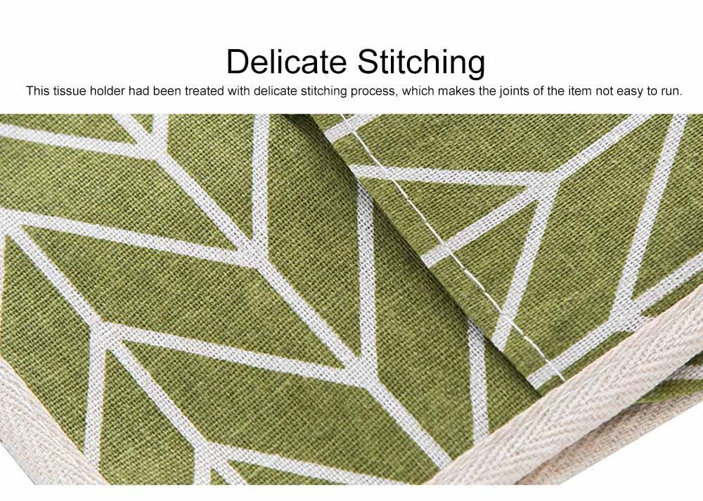 Minimalist Functional Geometric Pattern Tissue Box Cover, Waterproof Wearable Cotton Linen Facial Paper Organizer Holder 5