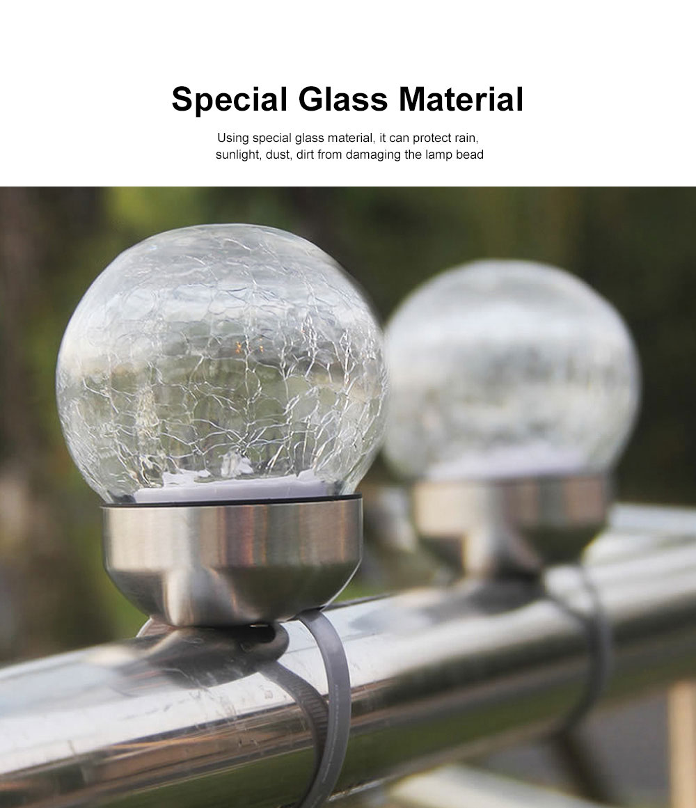 2pcs Solar-Powered Garden LED Light Environmental & Power-Saving Glass Crystal Ball Light Innovative Ambient Light Decoration for Outdoor Yard Lawn Ground 3
