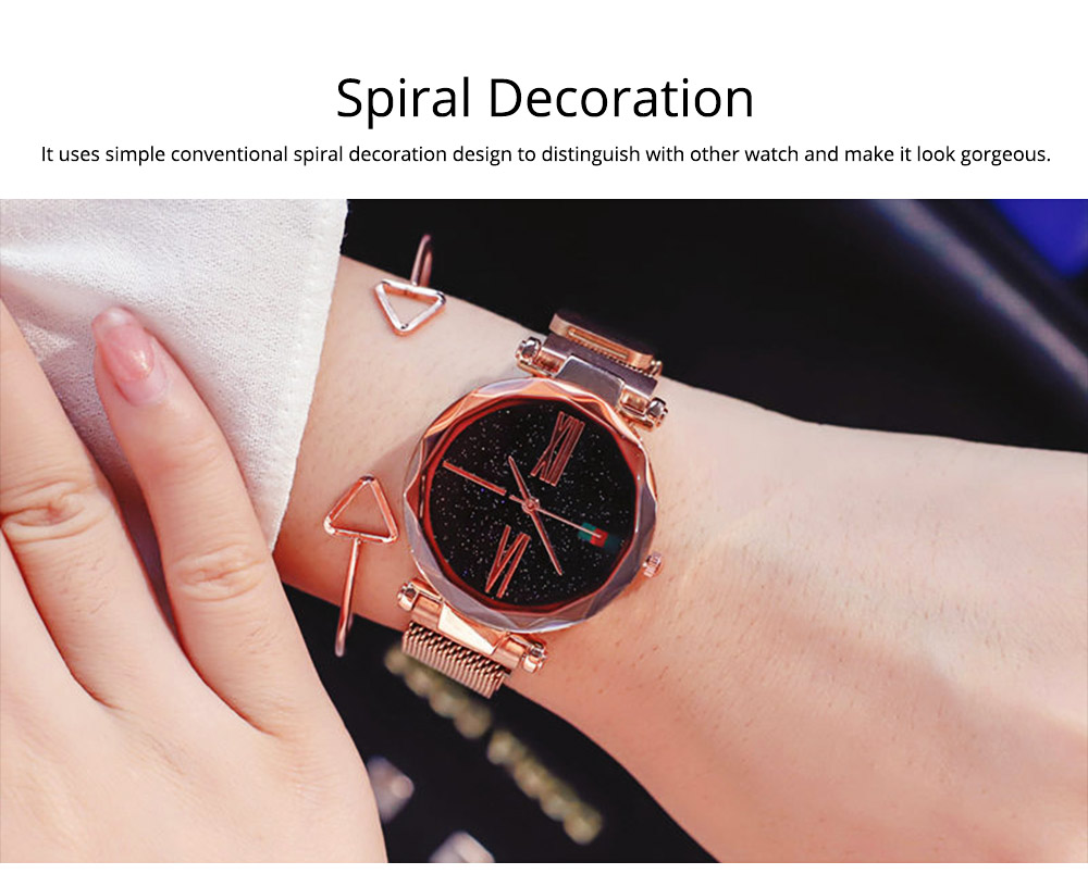 Starry Quartz Watch for Women Glass Dial Magnetic Design Quartz Movement Spiral Decoration Sturdy and Durable Watch 4