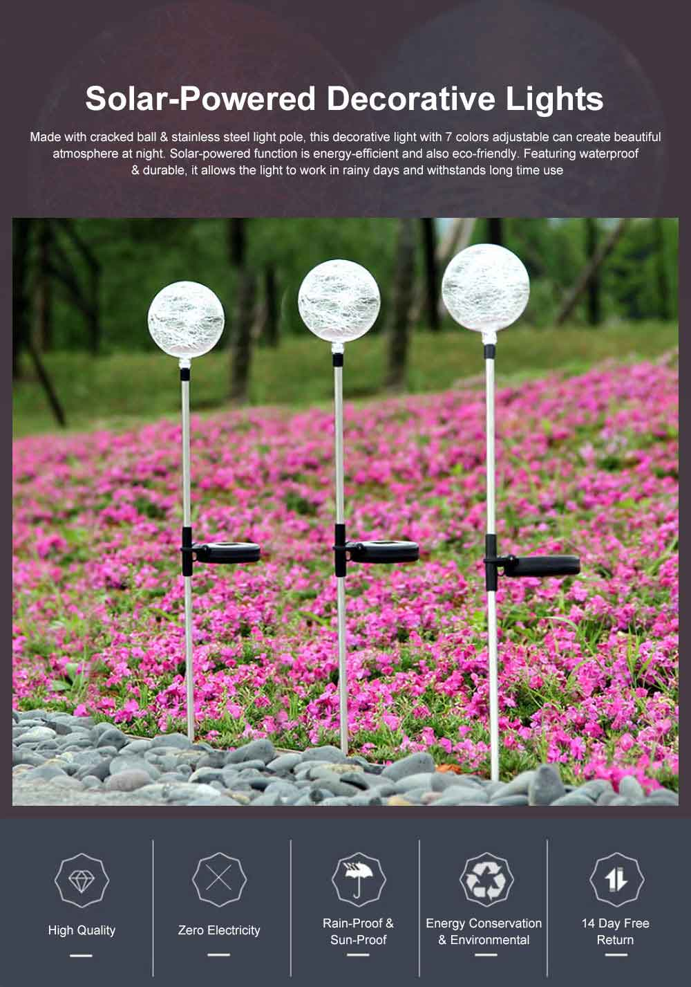 2pcs Solar-Powered Led Decorative Lights 7 Colors Cracked Glass Ball LED Garden Lights Waterproof Solar Night Patio Lights for Outdoor Use 0