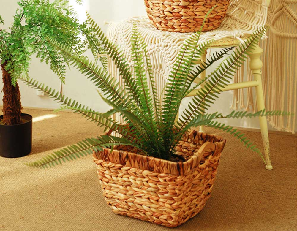 Creative Minimalist Garden Straw Weaving Flower Basket, Delicate Rattan Weaving Storing Basket Decoration with Double Handle 8