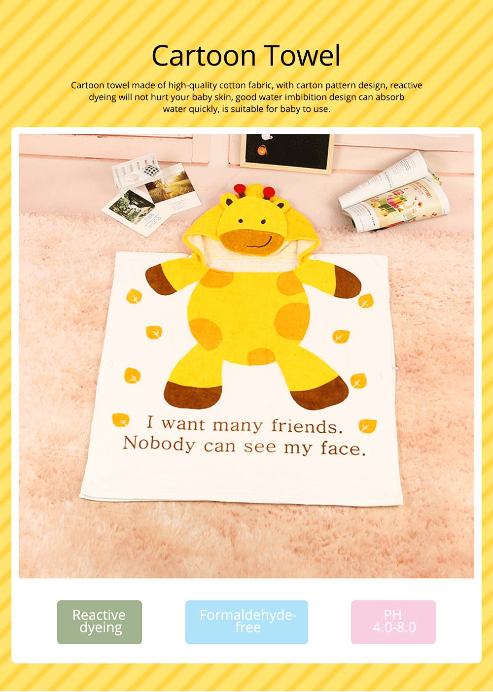 Cartoon Towel for Baby Reactive Dyeing Car Line Neat Bath Product No Odor Soft Comfortable Children's Cloak 0