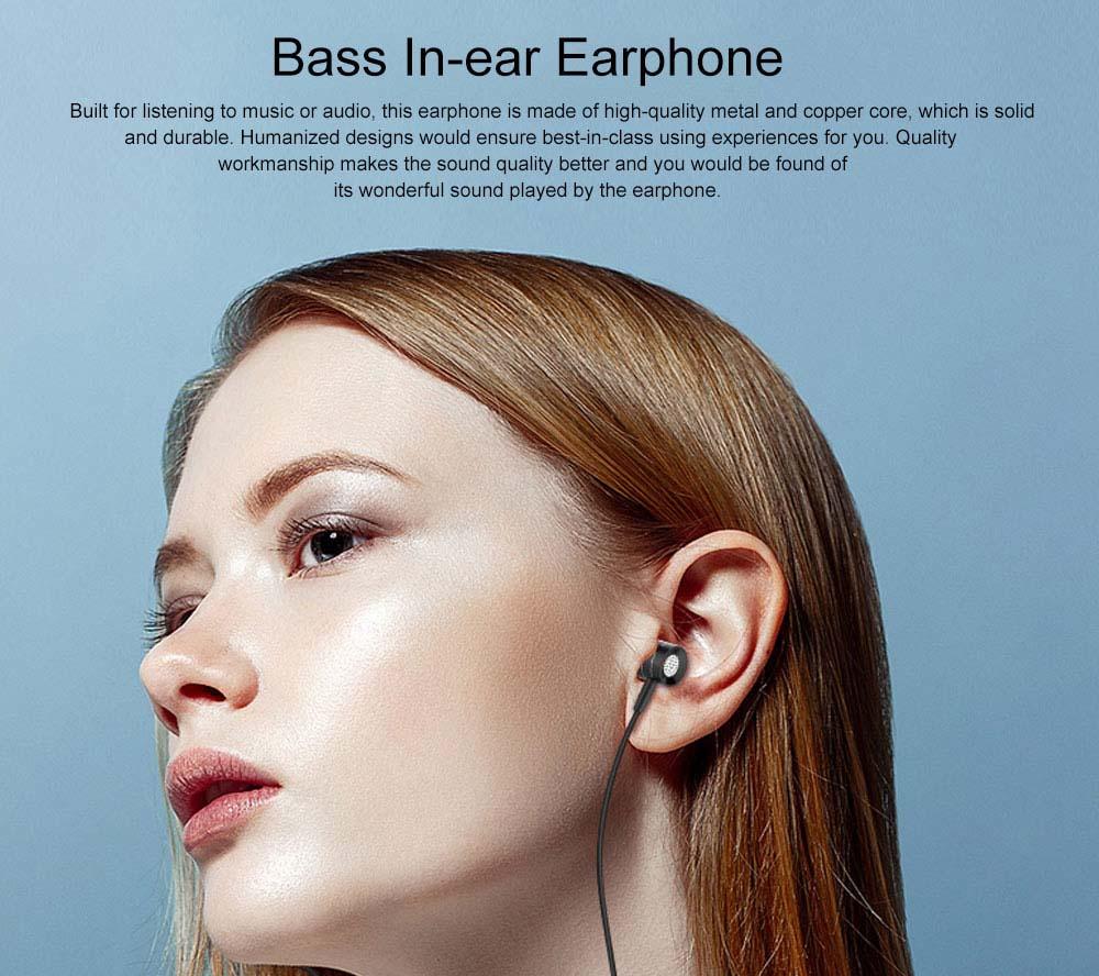 Quality Minimalist Mega Bass HIFI Music In-ear Earphone, Solid Metal Wired Earphone with Three Size Ear Caps 0