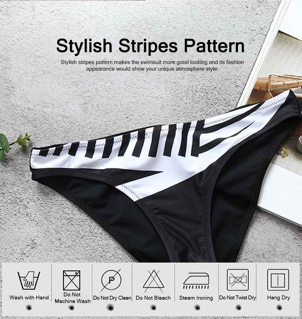 Sexy Fancy Minimalist Stripe Pattern Women Separates Swimsuit, Detachable Shoulder Strap Elastic Strapless Swimwear for Ladies 5