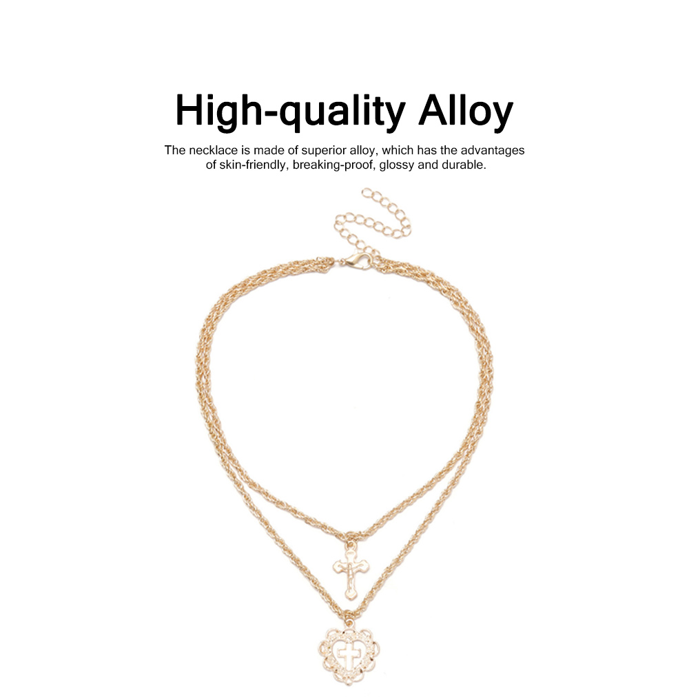 Delicate Fancy Golden Rhinestone Artificial Pearl Decorative Necklace, Fashion Double Layers Cross Heart Model Ornament Pendant for Women 1