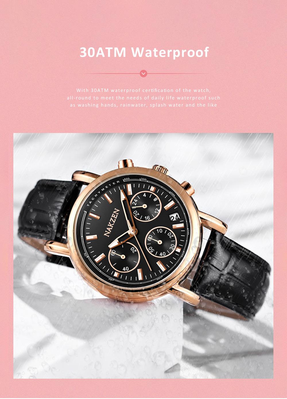 Fashion Women Watch Japanese Quartz Movement Wrist Watch with Calendar Genuine Leather Watch Strap Quartz Watch 3