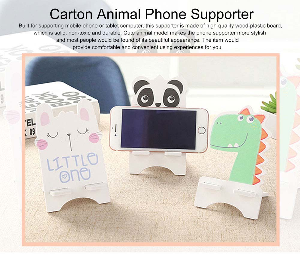 Creative Cute Cartoon Animal Model Mobile Phone Supporter, Touch Wood-Plastic Board Tablet Computer Holder 0