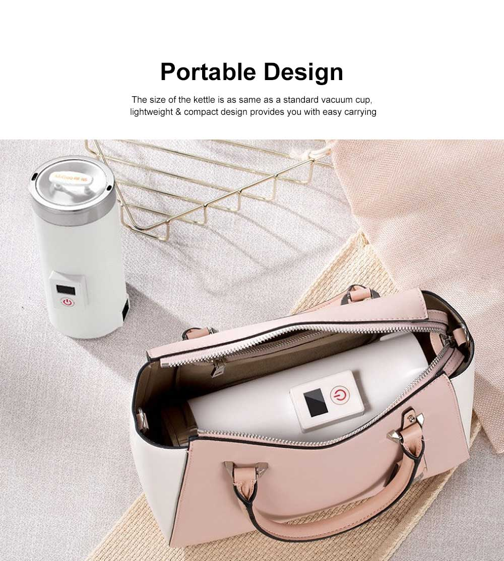 Portable Electric Kettle Cup Stainless Steel Water Boiler Durable Silicone Ring One Key Operation Coffee Milk Heating Container 1