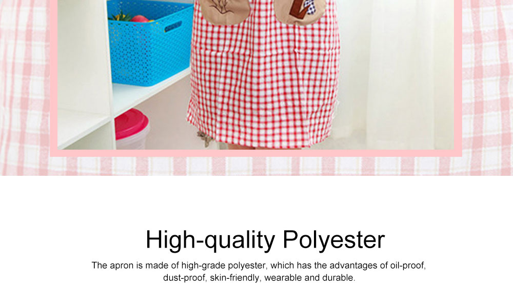 Cute Trees Embroidery Plaid Women Men Apron Dress, Home Kitchen Restaurant Antifouling Adjustable Apron with Pockets 1