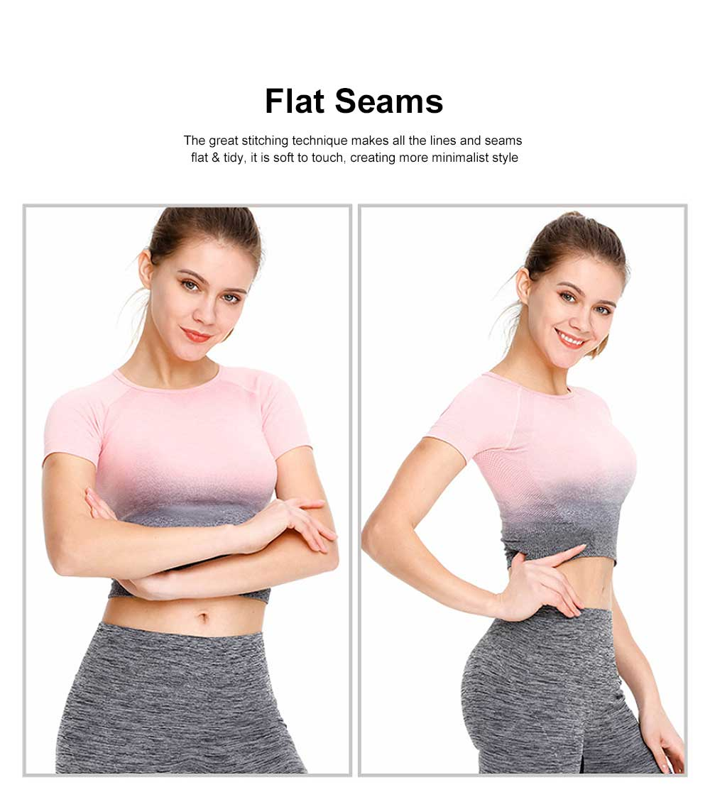 Women Breathable Sport Top Comfortable Polyester Gradual Color Changing Sport Shirt Special Navel-Exposed Sport Wear 3