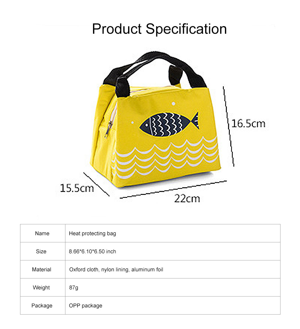 Cute Fish Painting Handheld Heat Protecting Bag, Waterproof Wearable Oxford Cloth Portable Insulation Handle Bag Picnic Pack 6