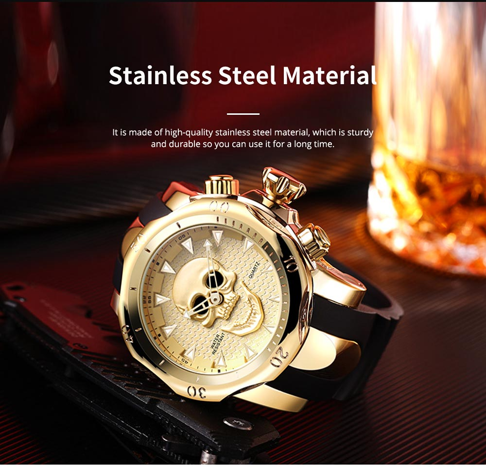 Skull Wrist Watch for Men Rotatable Circle Rubber Strap Contracted Pin Buckle Stainless Steel Sturdy and Durable Personality Watch 5