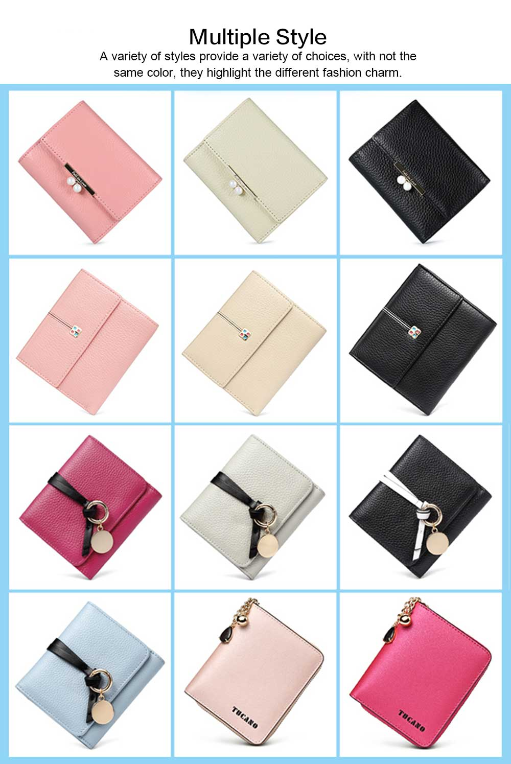 2019 New Designed Women Purse New Designed INS Purse Short-style Fresh Folding Purse for Women Lady Girl 2