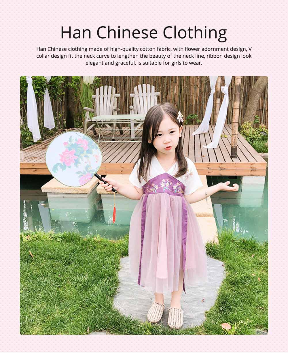 Han Chinese Clothing for Girls V Collar Flower Adornment Ribbon Chinese Characteristics Skin-friendly and Comfortable Dress 0