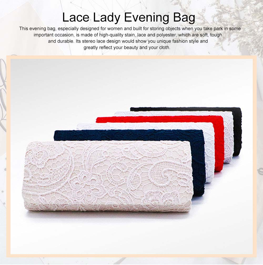 Delicate Elegance Stereo Lace Ladies Shoulder Evening Bag Skin-friendly Stain Polyester Cosmetic Hand Bag for Socialite Women 0