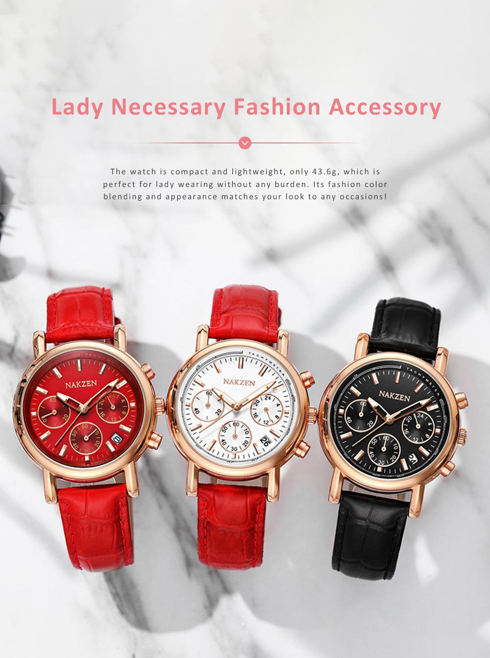 Fashion Women Watch Japanese Quartz Movement Wrist Watch with Calendar Genuine Leather Watch Strap Quartz Watch 2