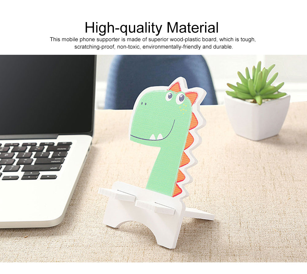 Creative Cute Cartoon Animal Model Mobile Phone Supporter, Touch Wood-Plastic Board Tablet Computer Holder 1