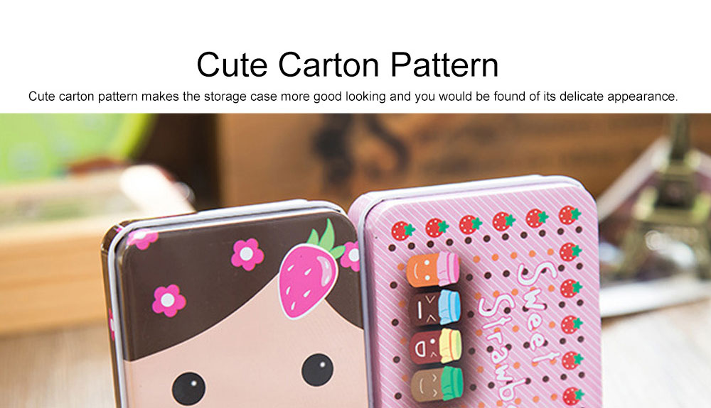Cute Carton Painting Portable Mini Tinplate Storage Box, Breaking-proof Rust-proof Iron Jewelry Candy Small Object Storing Case 3