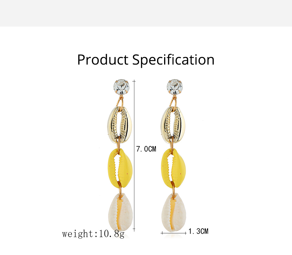 Long Conch Earrings for Women Colorful Option Set Auger Design Western Style Multilayer Colored Shell Stud Earring 6