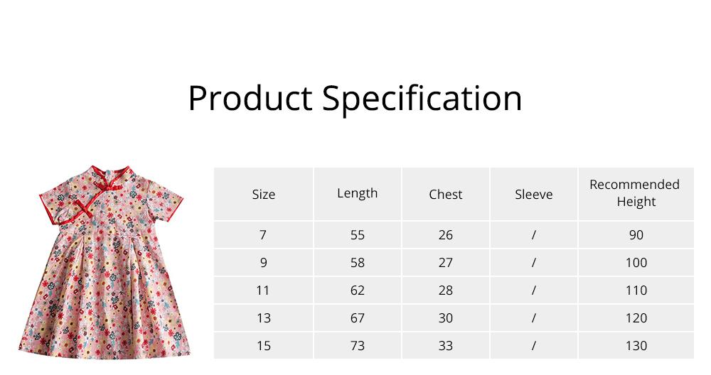 Girls Cheongsam Floral Print Retro Style Short-sleeve Skin-friendly Breathable One-piece Dress Summer 6