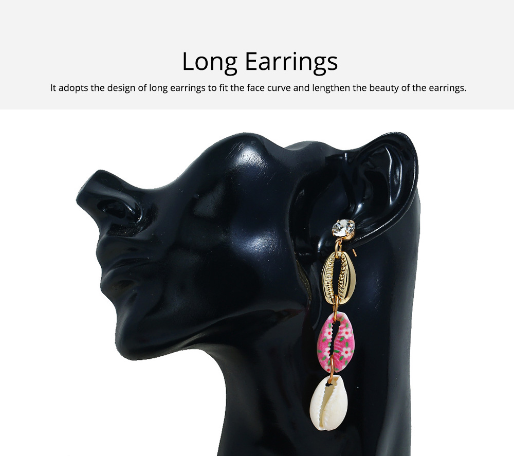 Long Conch Earrings for Women Colorful Option Set Auger Design Western Style Multilayer Colored Shell Stud Earring 1