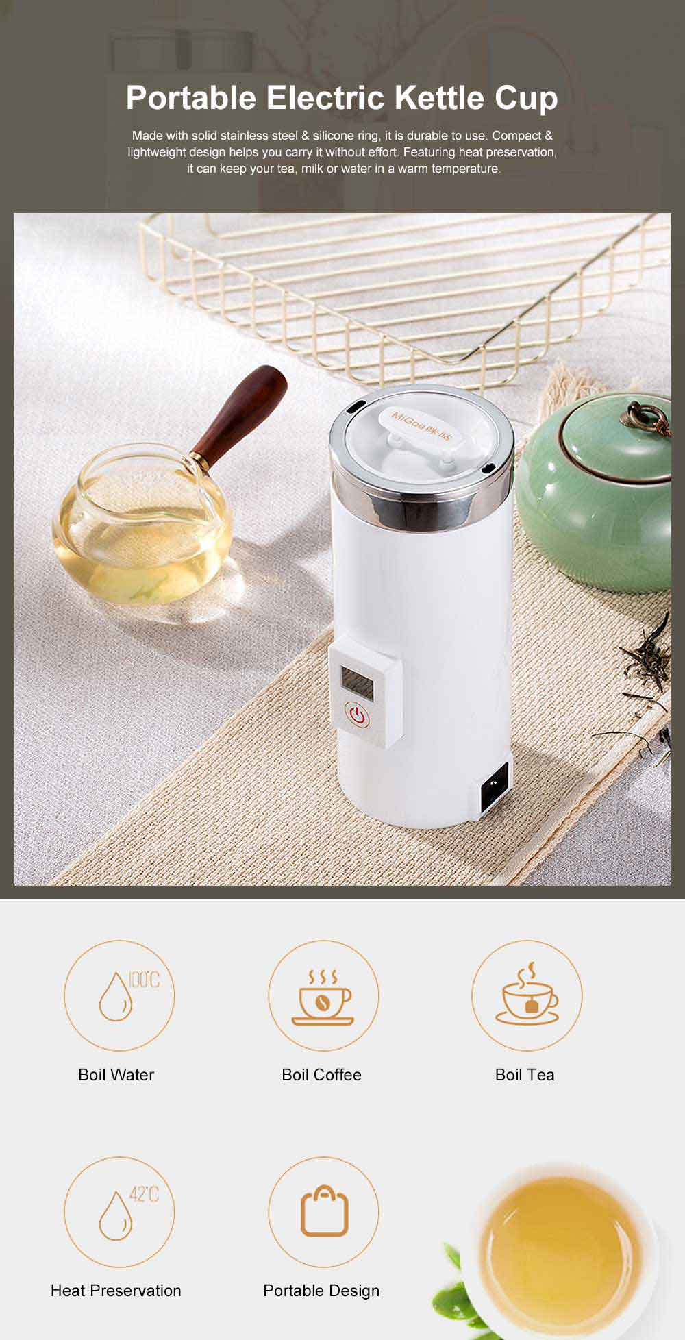 Portable Electric Kettle Cup Stainless Steel Water Boiler Durable Silicone Ring One Key Operation Coffee Milk Heating Container 0