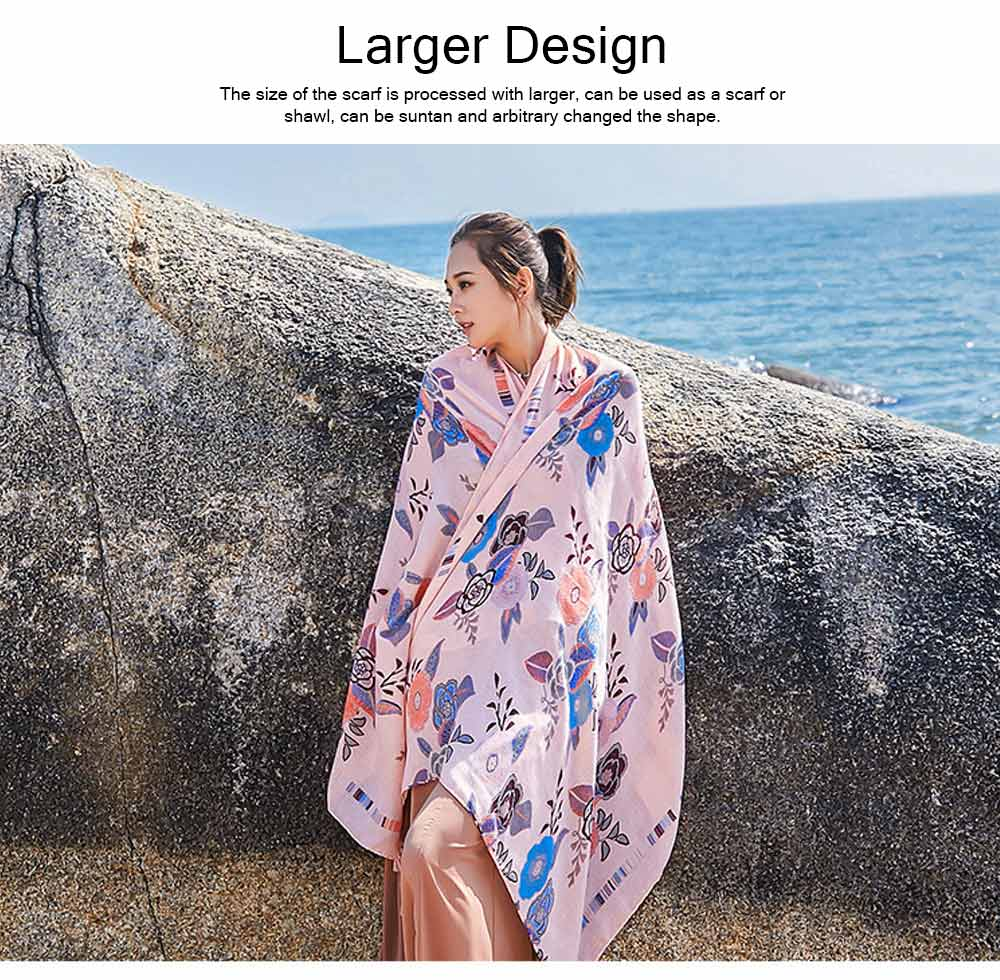 2019 Spring Summer Tippet Cotton-linen Material Peony Pattern Shawl Soft Scarf Sunscreen for Women Men Keep Warm Skin-friendly Muffler 5